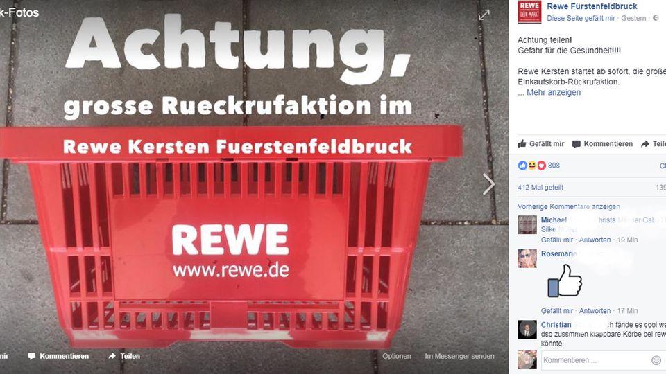 """Mit einer """"Rückrufaktion"""" bittet der Rewe Fürstenfeldbruck auf Facebook um seine Einkaufskörbchen."""
