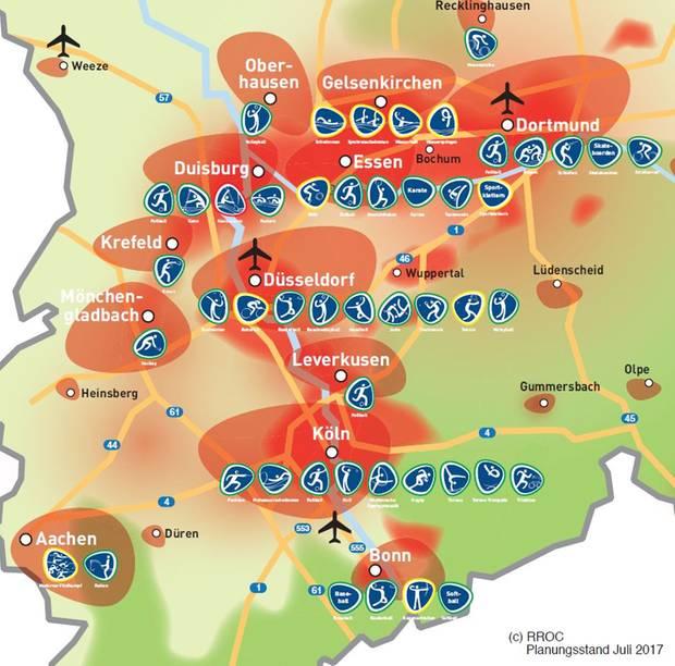 Das Olympia-Konzept sieht 13 Städte als Austragungsorte vor