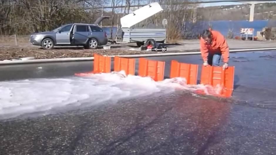 Plastikbarriere aus Schweden schützt vor Überschwemmmungen