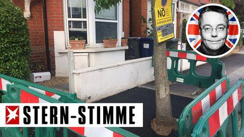 Der Bürgersteig vor dem Haus des Kolumnisten