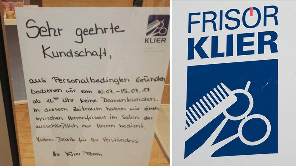 """Der Aushang an einer Filiale des Friseurs """"Klier"""" in Zwickau löste rechte Hetze aus"""