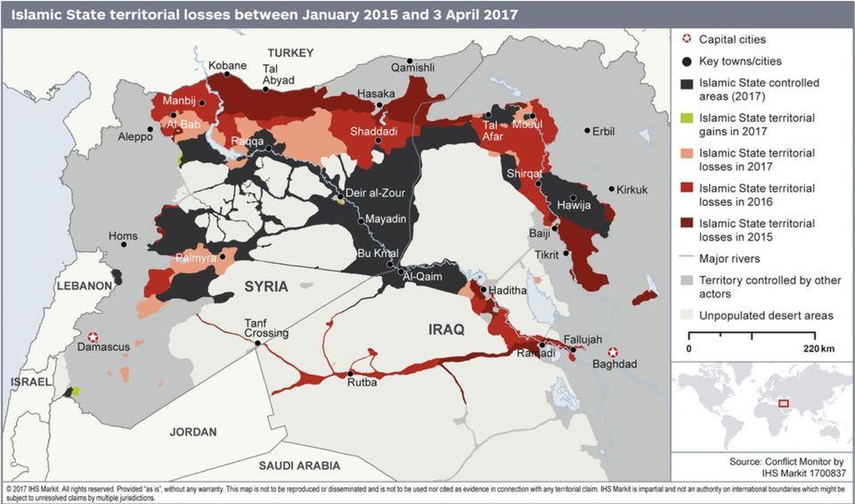 Karte mit den IS-Gebieten, die noch gehalten werden und in den letzten Jahren verloren gingen