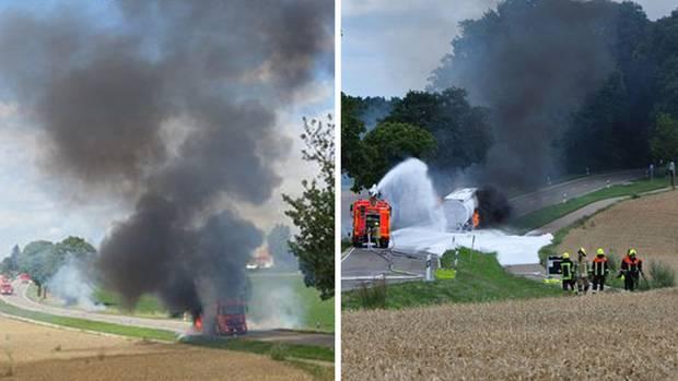 Die Feuerwehr hatte zunächst Schwierigkeiten, den brennenden Laster zu löschen