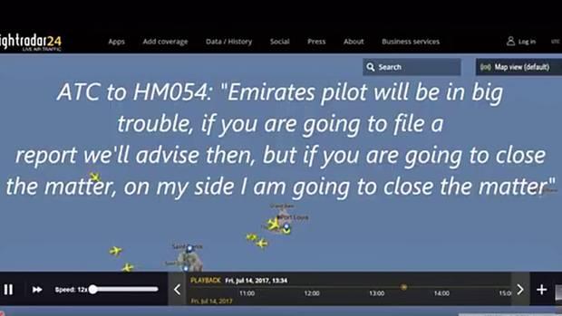 Kurz nach dem Zwischenfall: Ausschnitt aus dem Funksprechverkehr des Fluglotsen an den Piloten des Maschine von Air Seychelles.