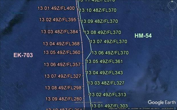 Die Flughöhen und das Ausweichmanöver: Links die Route des A380 von Emirates (EK703), rechts den nach Norden fliegen Jets von Air Seychelles (HM-54).