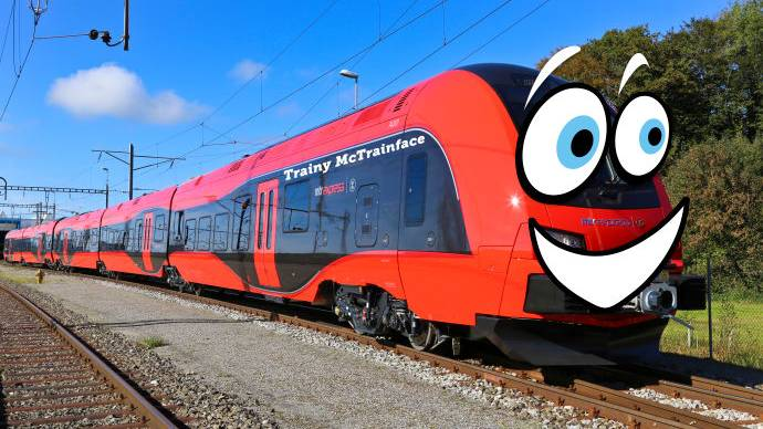 """Die Presseabteilung von MTR Express hat dieses Foto zum Abstimmungsergebnis von """"Trainy McTrainface"""" herausgegeben"""
