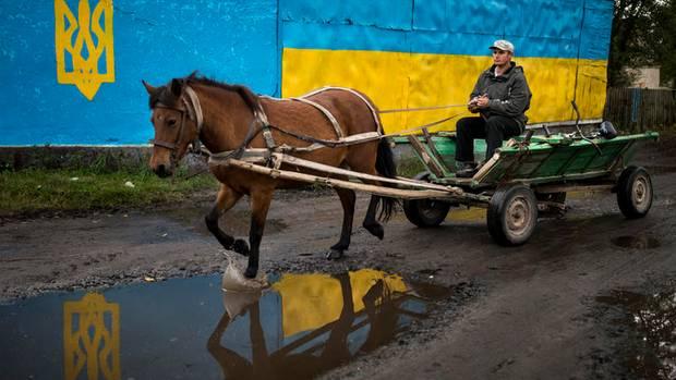 Ein Pferdekarren passiert die ukrainischen Nationalfarben am Marktplatz in Antonivka nahe der Grenze zu Weißrussland