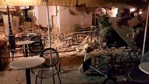 Ein eingestürztes Gebäude auf Kos. Die Insel wurde von einem Erdbeben der Stärke 6,5 erschüttert.