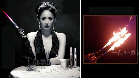 Werbebilder des chinesischen Flamenwerfers zeigen eine Dame im Abendkleid mit der Waffe