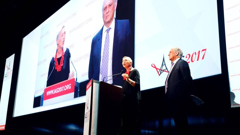 Linda-Gail Bekker, Präsidentin der Internationalen Aids-Gesellschaft (IAS) spricht auf der Konferenz in Paris