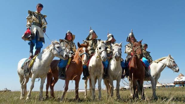 Reiter in der Inneren Mongolei: im Gegentala Grasland