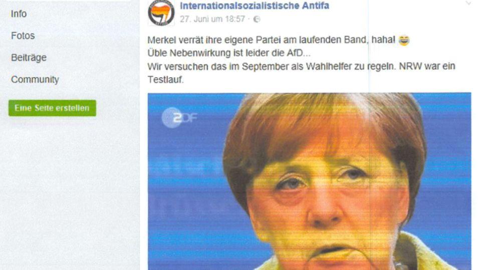 Internationalistische Antifa postet mit Merkel-Bild Brisantes zur NRW-Landtagswahl - AfD erhebt Einspruch