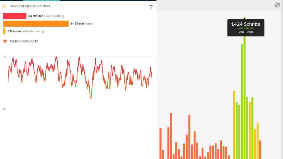Auswertung auf dem Tablet mit der Fitbit-App: Beim Ausdauertraining mit dem Rad wird links in der zackigen Kurve die Herzbelastung angezeigt. Rot steht für Höchstbelastung. Rechts ein Diagramm mit der Schrittanzahl im Tagesverlauf.