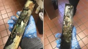 Ein verdrecktes Metallteil, das zu einer Eismaschine eines McDonald's gehören soll