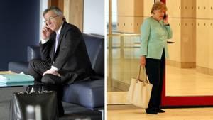 Kanzlerin Angela Merkel rief an und EU-Kommissionspräsident Jean-Claude Juncker ging nicht ran (Archivbilder)