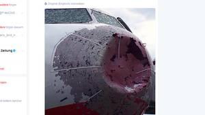 Die beschädigte Nase des Airbus A320 von Atlasjet