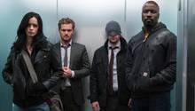 """Jessica Jones, Iron Fist, Daredevil, Luke Cage: Die Superhelden bilden in der neuen Netflix-Serie """"Marvel's The Defenders"""" eine Allianz."""