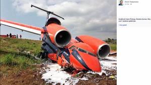 Die Antonow An-74 der ukrainischen Fluggesellschaft Cavok Air nach dem Crash in São Tomé