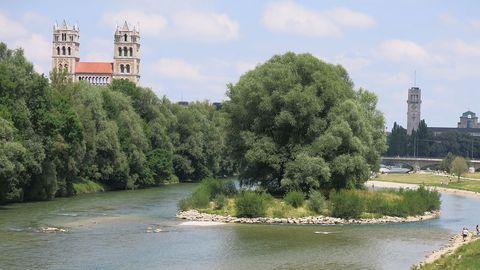 Die Weideninsel in München - hier strandeten die Männer beim Hochwasser