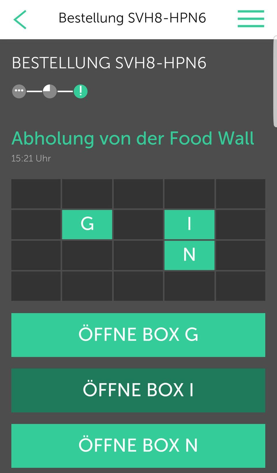 """Die App sagt Bescheid, wenn das Essen abholbereit in der """"Food Wall"""" ist"""