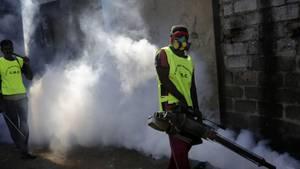 Ein Regierungsarbeiter verteilt Insektizide in der Hauptstadt Sri Lankas
