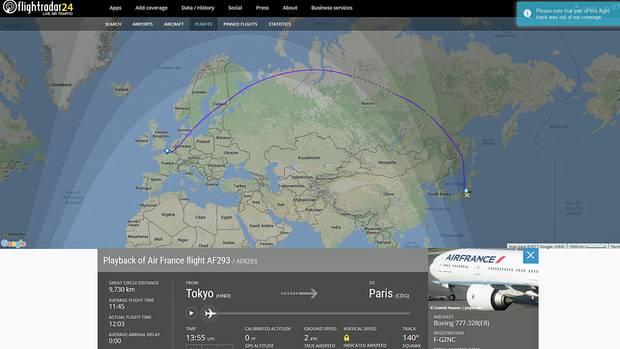Ein Screenshot zeigt die Flugroute von Air France Flug AF 293