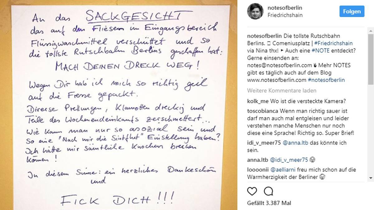 Sackgesicht Brief Berliner Geigt Seinem Nachbarn Die Meinung Sternde