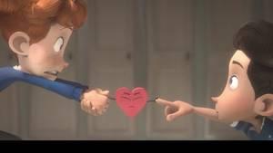 Zwei Jungen schauen sich in die Augen, verbunden durch ein rotes Herz