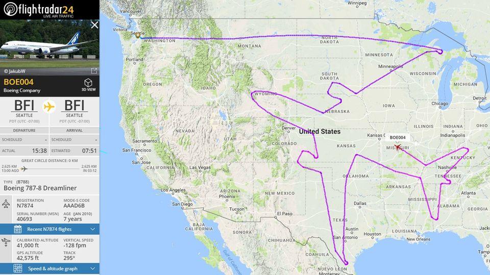 Das Abbild der Route nach 13 Stunden Flugzeit aufflightradar24.com: Die Reise der Boeing 787 begann in Seattle im Nordwesten der USA.