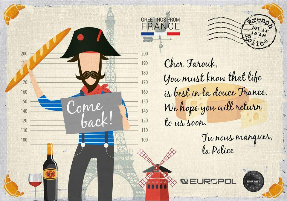 """Kreative Kampagne: """"Du fehlst uns"""": Europol schickt Postkarten an gesuchte Kriminelle"""
