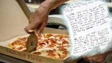 Eine Kundin erhält einen gruseligen Drohbrief von einem Pizzaboten, weil sie kein Trinkgeld gab