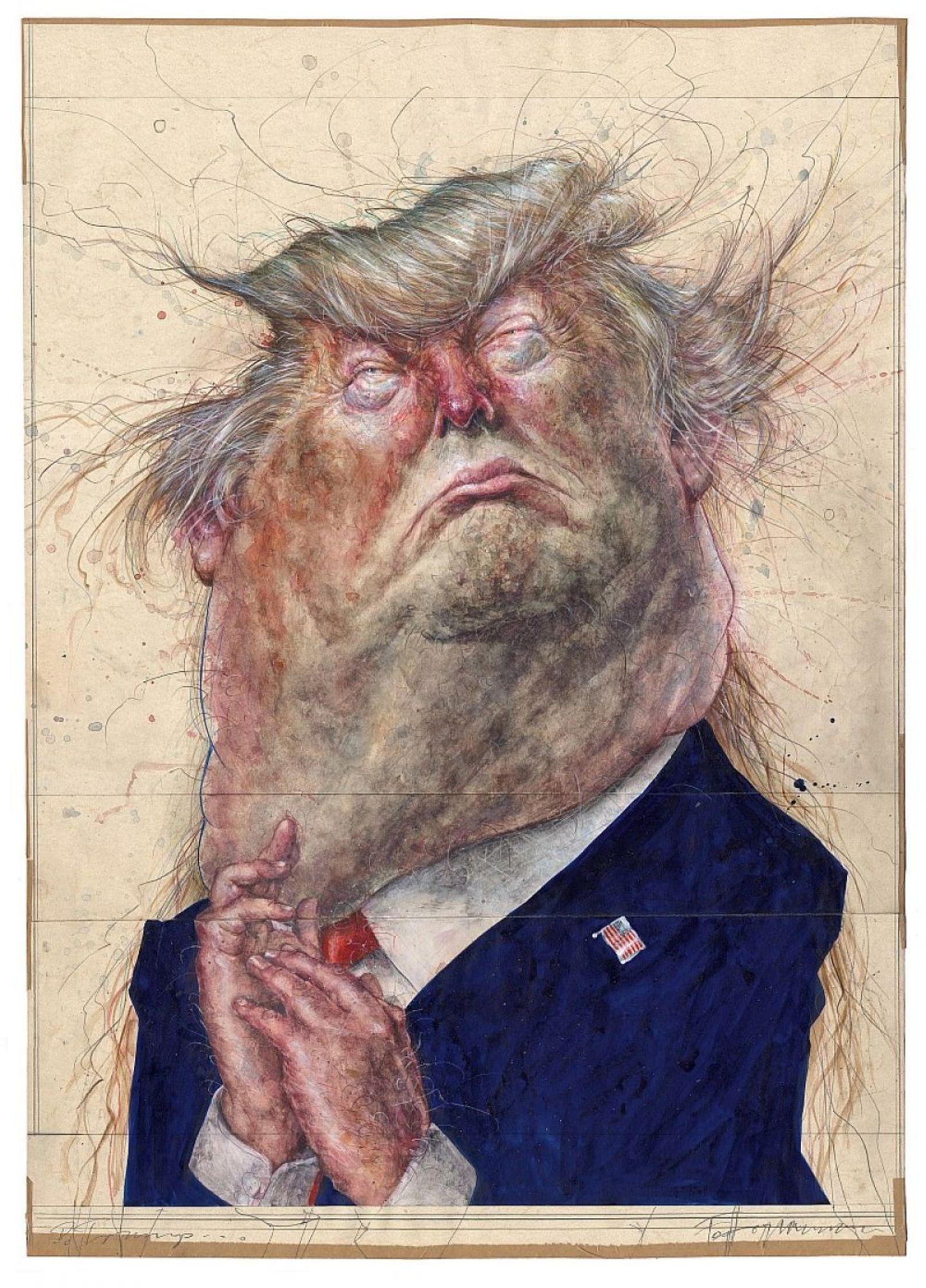 Karikatur mit gesichtern mann der 2 den Denninger