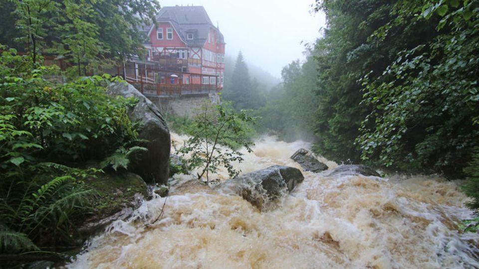 Steinerne Renne, Werningerode, Sachsen-Anhalt: Am Oberlauf der Holthemme verwandelt sich der Fluss in einen reißenden Strom