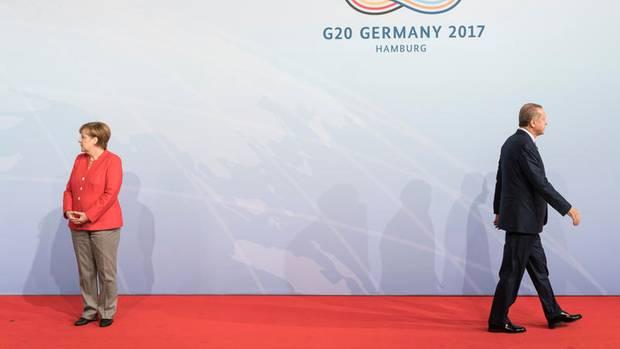 Mit der Geduld am Ende: Auf dem G20-Gipfel in Hamburg waren die Spannungen zwischen Merkel und Erdogan zu spüren