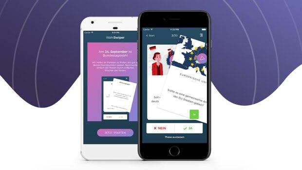 """""""Wahl-O-Mat""""-Alternative: Die App """"WahlSwiper"""" auf zwei Smartphone-Bildschirmen"""