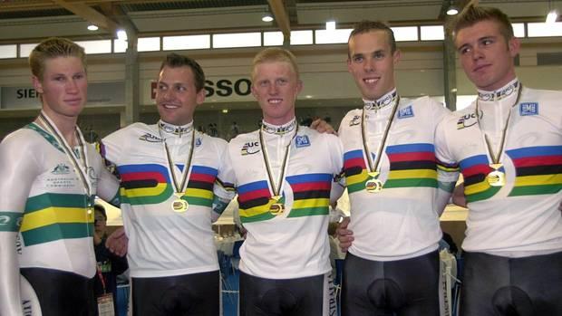 Bahnradsportler Stephen Wooldridge mit seinen Teamkollegen