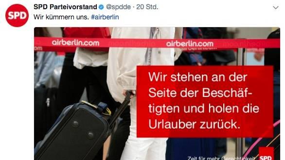 Insolvente Airline: SPD erntet Häme für Tweet zur Air-Berlin-Rettung