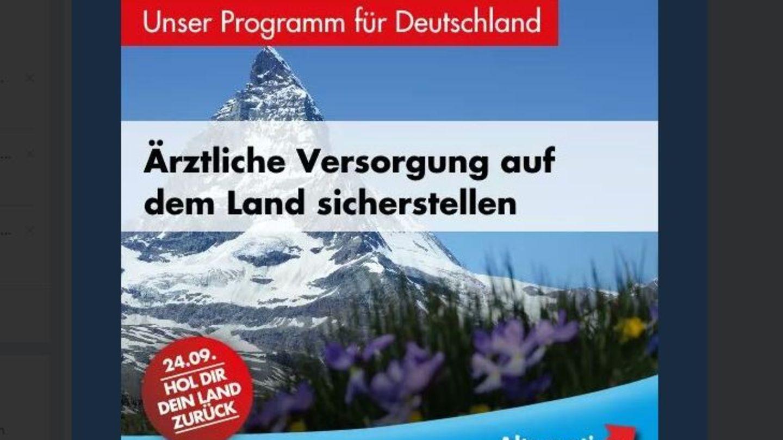 """Die AfD warb kurzzeitig mit dem Slogan """"Hol dir dein Land zurück"""" und einem Bild des Matterhorns - der Berg liegt in der Schweiz"""