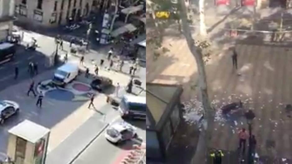 Terroranschlag in Spanien: Augenzeugenvideos zeigen Ausmaß des Anschlags in Barcelona