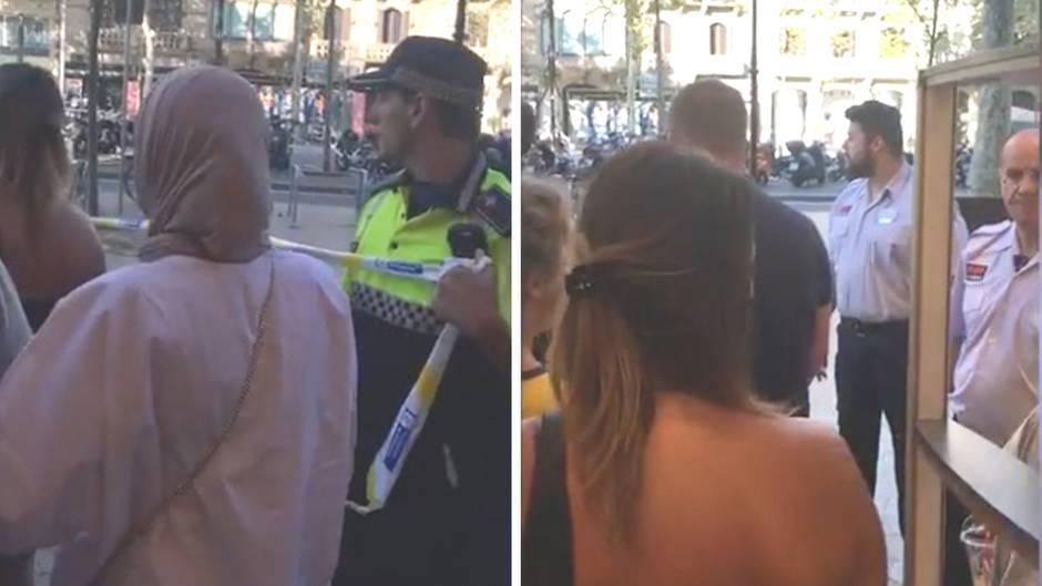 Augenzeugin Nora Reinhardt: Barcelona: Menschen werden nach Anschlag aus Geschäften geleitet