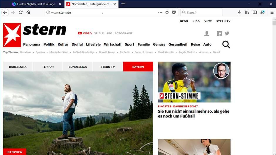 Die Stern-Seite in der Mozilla Firefox 57 Nighly
