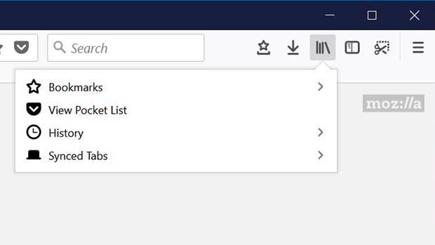 Das Lesezeichen-Menü des Mozilla Firefox 57 Nighly