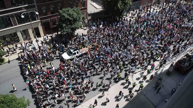 Der Protestzug in Boston
