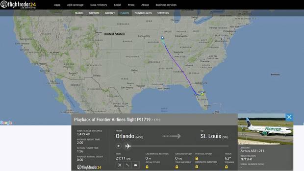 Die Flug von Orlando in Florida nach St. Louis US-Bundesstaat Missouridauert gut zwei Stunden.