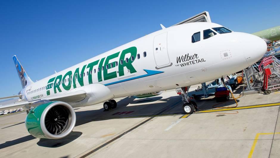 Ein Flugzeug des US-Billigfliegers Frontier Airlines