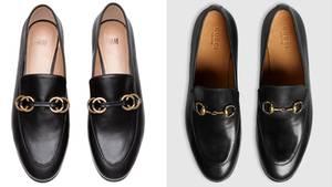 Welches Paar Schuhe darf's denn sein? Links H&M für 25 Euro, rechts Gucci für 595 Euro
