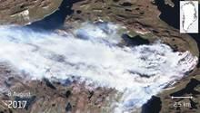Die Satellitenaufnahme zeigt das Ausmaß des Flächenbrandes auf Grönland am 8. August 2017