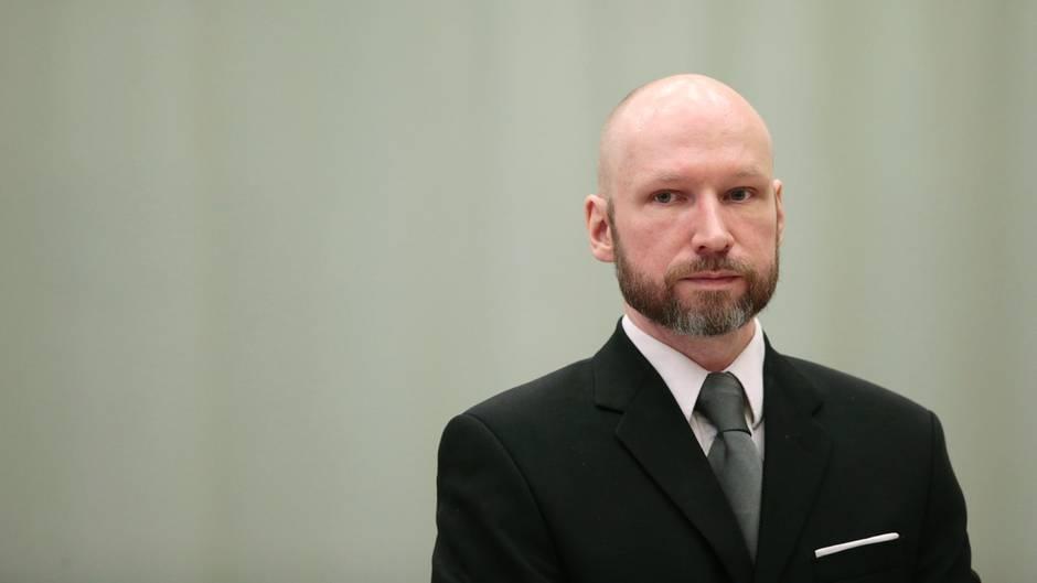 Der norwegische Massenmörder Anders Behring Breivik im Berufungsgericht im Telemark Gefängnis ins Skien, Norwegen.