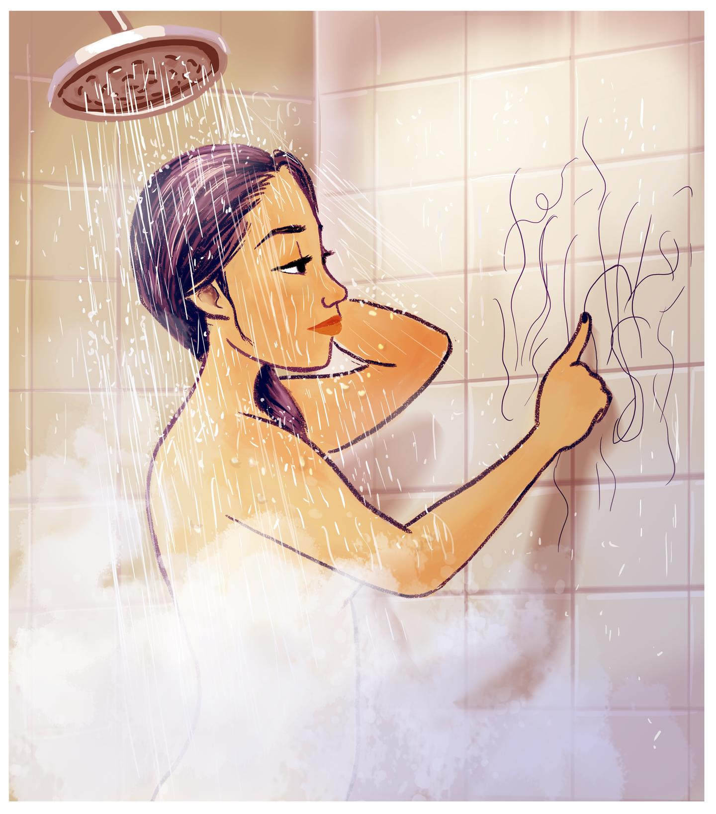 Beim Duschen ausgefallene Haare zählen und mit ihnen ominöse Bilder an die Duschwand malen