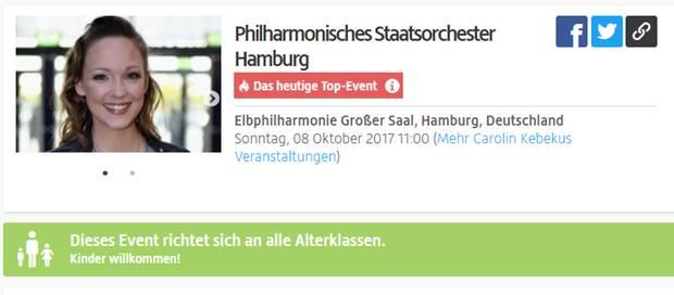 Laut Viagogo tritt Carolin Kebekus am 8. Oktober mit dem Philharmonischen Staatsorchester in der Elbphilharmonie auf. Stimmt aber nicht.